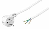 angle Power cable for confectionery 2 m, white, 2 m - Safety plug (type F, CEE 7/7) > Loose cable ends