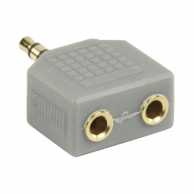 Adaptor audio stereo 3.5mm tata - 2x 3.5mm mama gri, Bandridge