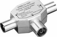 Coaxial T-Adapter: 2 Coaxial male > Coaxial female, 1 pc. in blister - metal