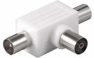 Coaxial T-Adapter: 2 Coaxial male > Coaxial female, 1 pc. in blister - plastic
