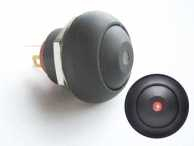 MINI PUSH BUTTON CU LED ROSU 1P SPST OFF-(ON)
