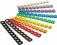 Cable marker clips 'Digits 0–9' for cable diameters up to 6 mm, 6 mm - 10x 10 coloured coding rings for labelling network cables, for instance