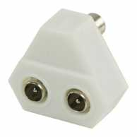 Coax Adapter Coax Female - 2x Coax Male White