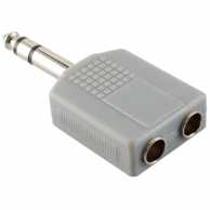 Stereo Audio Adapter 6.35 mm Male - 2x 6.35 mm Female Grey