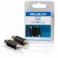 Stereo Audio Adapter 2x RCA Female - 2x RCA Female Black
